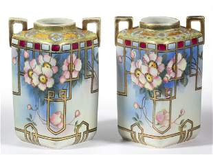 JAPANESE NIPPON HAND-PAINTED PORCELAIN PAIR OF VASES