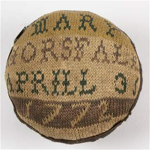 GEORGIAN BRITISH KNITTED SIGNED AND DATED PIN-BALL /