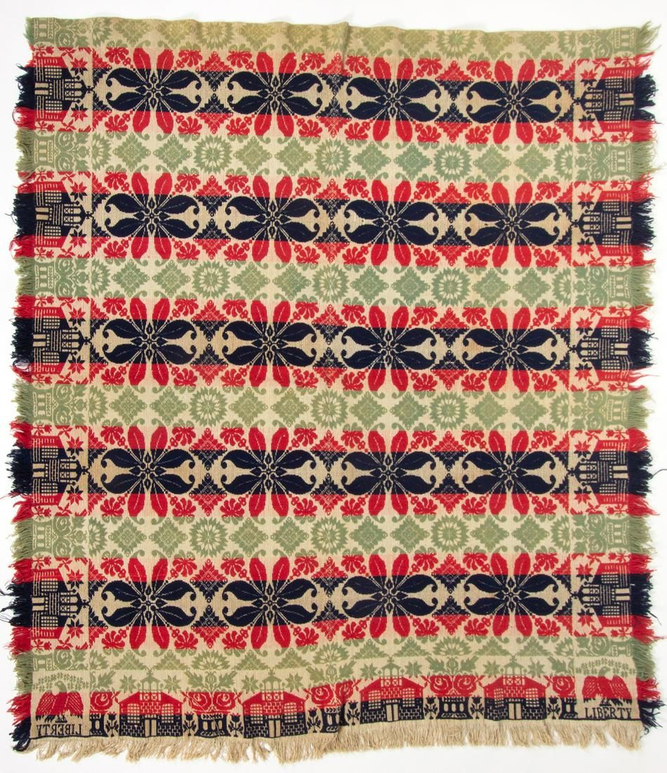 """OHIO ATTRIBUTED """"LIBERTY"""" JACQUARD COVERLET"""