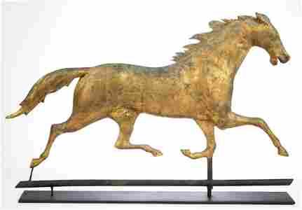 AMERICAN FOLK ART MOLDED-COPPER FULL-BODY HORSE