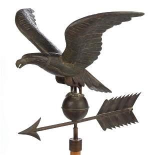 AMERICAN FOLK ART MOLDED-COPPER EAGLE WEATHERVANE