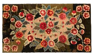 AMERICAN FOLK ART FLORAL HOOKED AND SHIRRED RUG