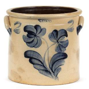 "STAMPED ""LYONS"", NEW YORK DECORATED STONEWARE CROCK"