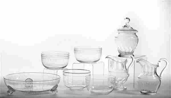 ASSORTED FREE-BLOWN AND ENGRAVED GLASS ARTICLES, LOT OF