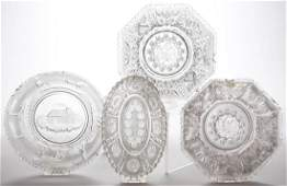 ASSORTED PRESSED LACY GLASS ARTICLES, LOT OF FOUR