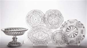 ASSORTED PRESSED LACY GLASS ARTICLES, LOT OF SIX