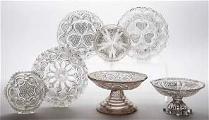 ASSORTED PRESSED LACY GLASS ARTICLES, LOT OF SEVEN