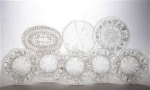 ASSORTED EARLY PRESSED / LACY-ERA GLASS ARTICLES, LOT
