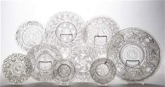 ASSORTED PRESSED LACY GLASS ARTICLES, LOT OF NINE