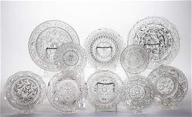 ASSORTED PRESSED LACY GLASS ARTICLES, LOT OF TEN
