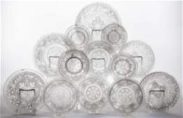 ASSORTED PRESSED LACY GLASS ARTICLES, LOT OF 13