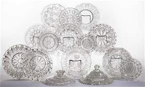 ASSORTED PRESSED LACY GLASS ARTICLES, LOT OF 15