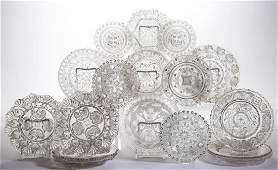 ASSORTED PRESSED LACY GLASS ARTICLES, LOT OF 17