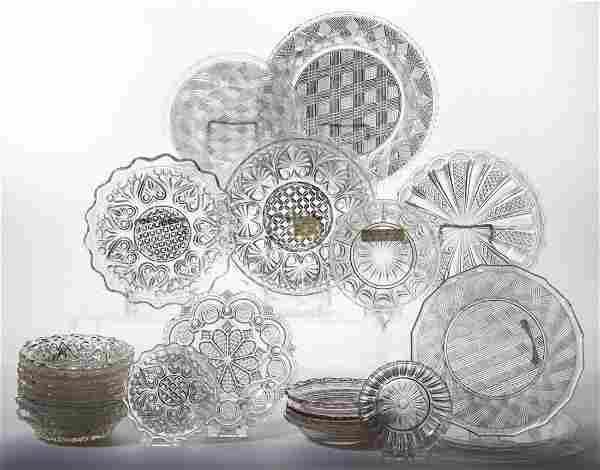 ASSORTED PRESSED LACY GLASS ARTICLES, LOT OF 38