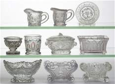 ASSORTED PRESSED LACY PERIOD GLASS ARTICLES, LOT OF TEN