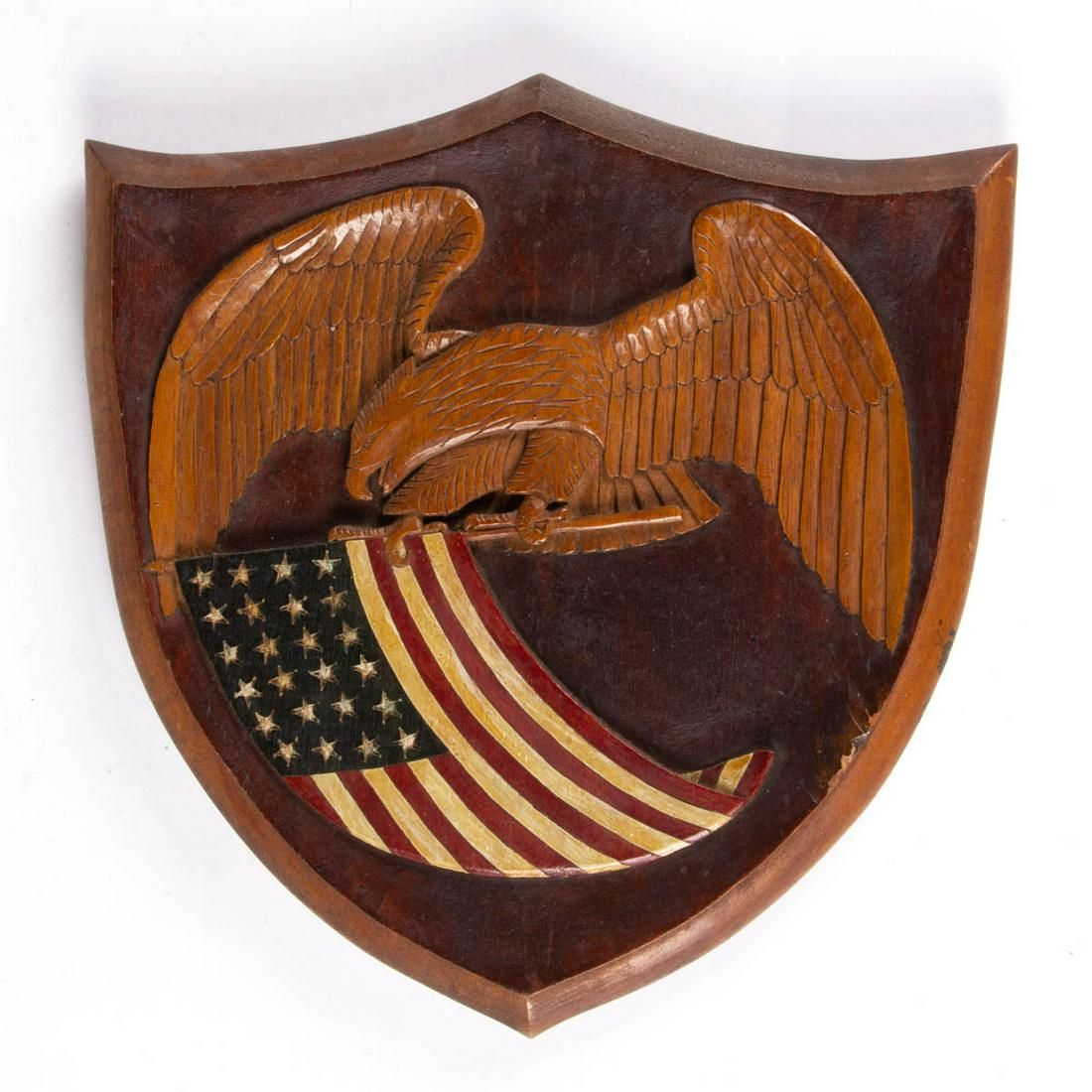 AMERICAN FOLK ART CARVED AND PAINTED HARDWOOD PATRIOTIC