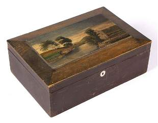 AMERICAN FOLK ART PAINT-DECORATED SEWING BOX