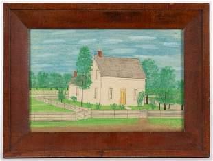 AMERICAN SCHOOL (19TH CENTURY) FOLK ART DRAWING OF A