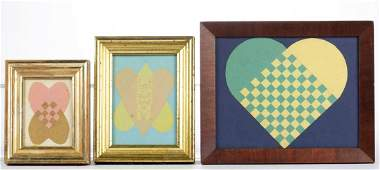 AMERICAN CUT-AND-WOVEN PAPER LOVE TOKENS, LOT OF THREE