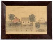 AMERICAN SCHOOL (19TH CENTURY) ILLINOIS HOMESTEAD FOLK