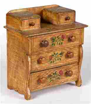 AMERICAN PAINT-DECORATED PINE MINIATURE CHEST OF
