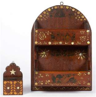 AMERICAN FOLK ART CARVED WALNUT AND INLAID WALL BOXES,