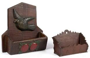 FOLK ART CARVED WOODEN AND RELIEF MOLDED WALL BOXES,