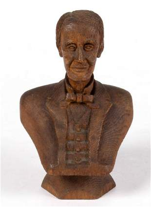 AMERICAN FOLK ART CARVED OAK BUST OF ABRAHAM LINCOLN