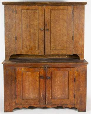 PENNSYLVANIA PAINT-DECORATED PINE STEP-BACK CUPBOARD