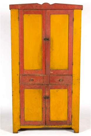 AMERICAN PAINTED MIXED-WOOD FLATWALL CUPBOARD