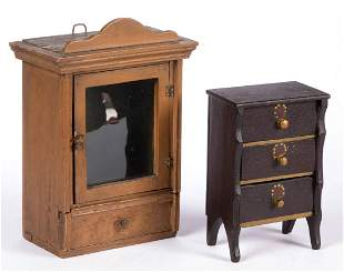 AMERICAN PAINTED MINIATURE FURNITURE, LOT OF TWO