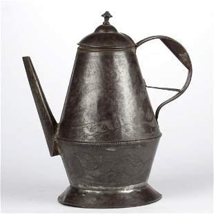 PENNSYLVANIA WRIGGLEWORK TIN ON SHEET-IRON COFFEE POT
