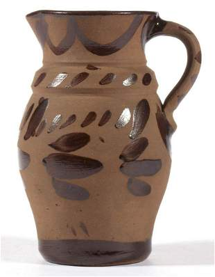 WESTERN PENNSYLVANIA DECORATED TANWARE CREAM PITCHER