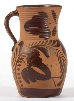 WESTERN PENNSYLVANIA DECORATED TANWARE PITCHER