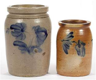MID-ATLANTIC DECORATED STONEWARE JARS, LOT OF TWO