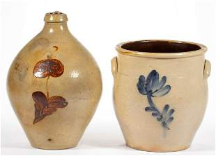 NORTHEASTERN DECORATED STONEWARE ARTICLES, LOT OF TWO