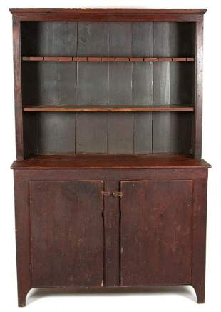 NEW ENGLAND PAINTED PINE PEWTER CUPBOARD