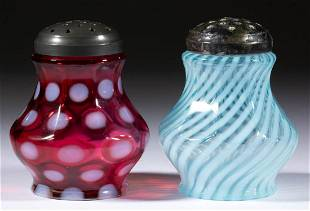 ASSORTED L. G. WRIGHT OPALESCENT GLASS SUGAR SHAKERS,