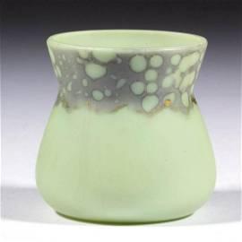 GREEN OPAQUE ART GLASS TOOTHPICK HOLDER