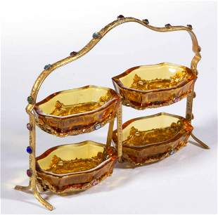 CZECH GLASS SET OF FOUR SALTS IN STAND