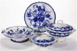 SWEDISH / ENGLISH FLOW BLUE PRINTED CERAMIC TABLE
