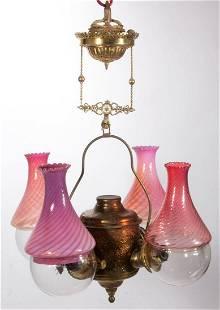 ANGLE LAMP CO. FLORAL GARDEN KEROSENE FOUR-ARM