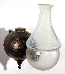 ANGLE LAMP CO. FLEUR-DE-LIS KEROSENE WALL LAMP