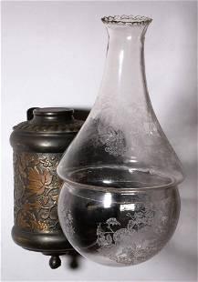 ANGLE LAMP CO. GRAPE KEROSENE WALL LAMP