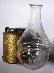 ANGLE LAMP CO. LEAF AND VINE KEROSENE WALL LAMP
