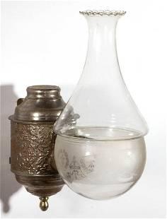 ANGLE LAMP CO. FLORAL GARDEN KEROSENE WALL LAMP