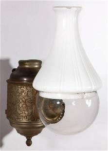 ANGLE LAMP CO. EXTENDED GRAPE KEROSENE WALL LAMP