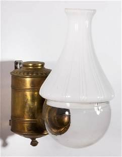 ANGLE LAMP CO. PLAIN CAN KEROSENE WALL LAMP