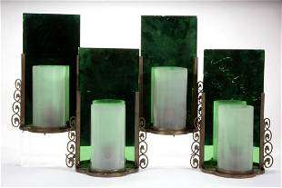 ART DECO METAL AND GLASS ELECTRIC WALL SCONCES, SET OF