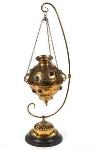 VICTORIAN BRASS JEWELED HALL LAMP WITH STAND